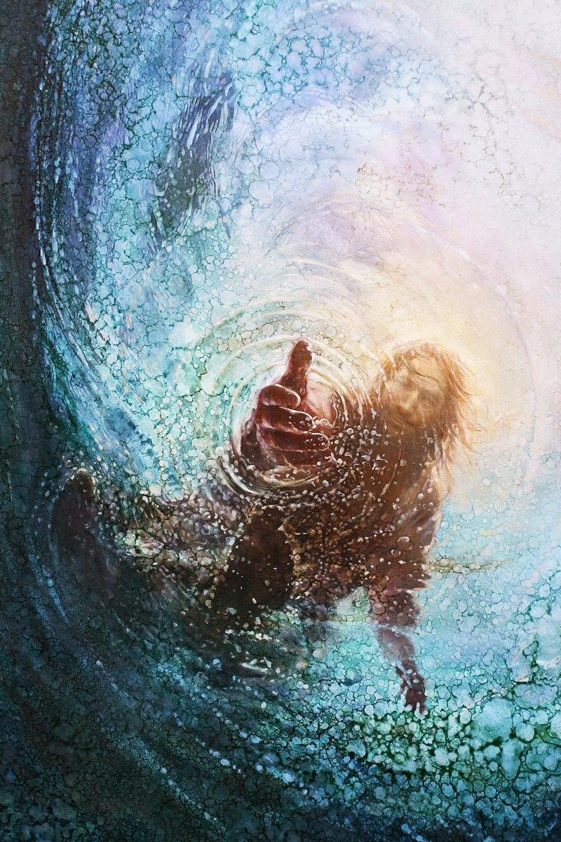 Amazon Com Havenlight Yongsung Kim The Hand Of God Painting Jesus Reaching Into Water 8 X 10 Print From Paintings