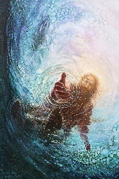 Yongsung Kim - Pintura de la mano de Dios - Jesús alcanzando en el agua -  12,7 cm x 7 cm de HavenLight: Amazon.es: Amazon.es