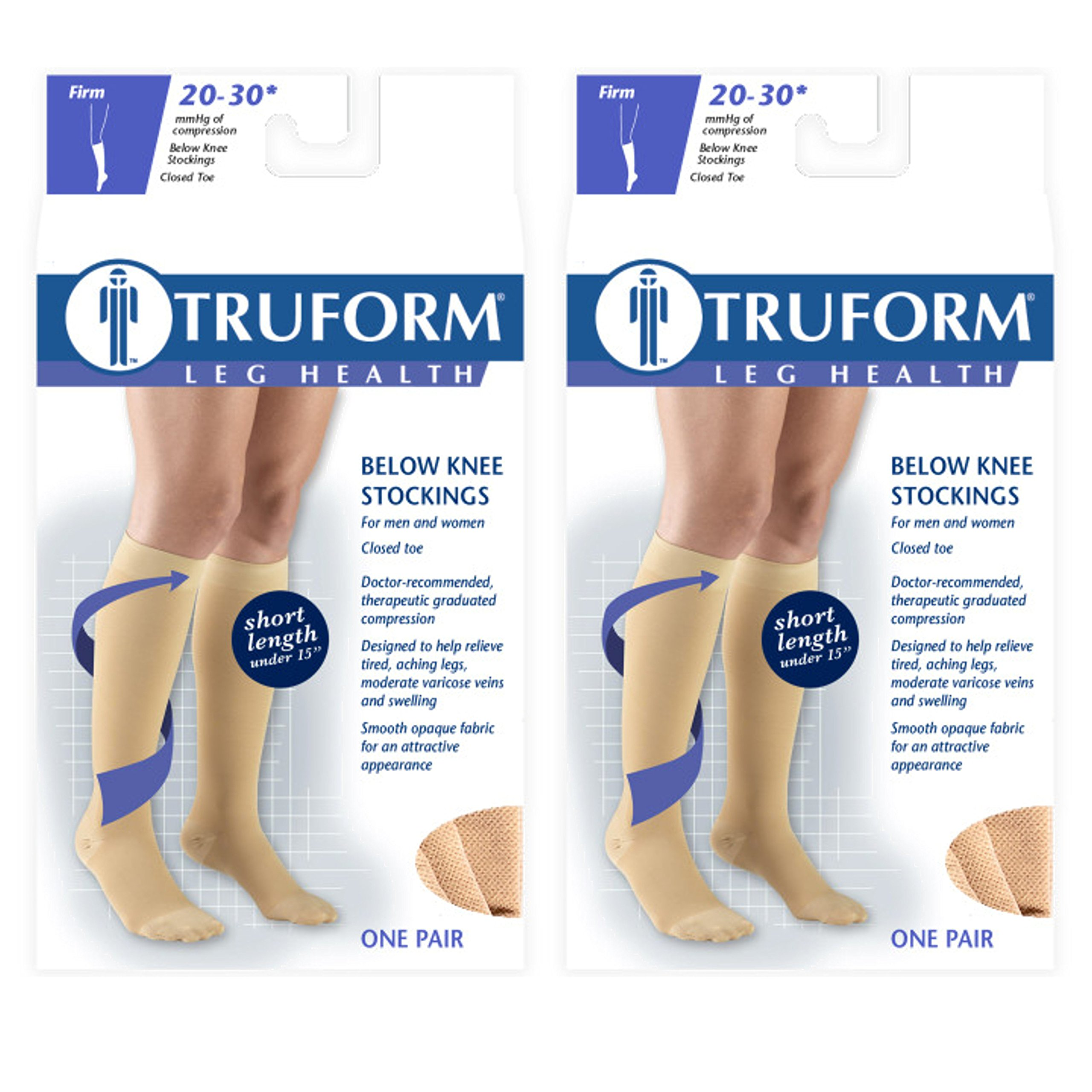 Truform Compression 20-30 mmHg Knee High Stockings Beige, X-Large - Short, 2 Count