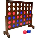 GoSports 3 Foot Width Giant Wooden 4 in a Row Game - Choose Between Classic White or Dark Stain - Jumbo 4 Connect Family Fun
