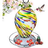 Grateful Gnome - Hummingbird Feeder - Hand Blown Glass - Bubblegum Swirl - 28 Fluid Ounces