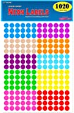 """Pack of 1020 1/2"""" Round Color Coding Circle Dot Labels, 10 Bright Neon Colors, 8 1/2"""" x 11"""" Sheet, Fits Any Printer…"""