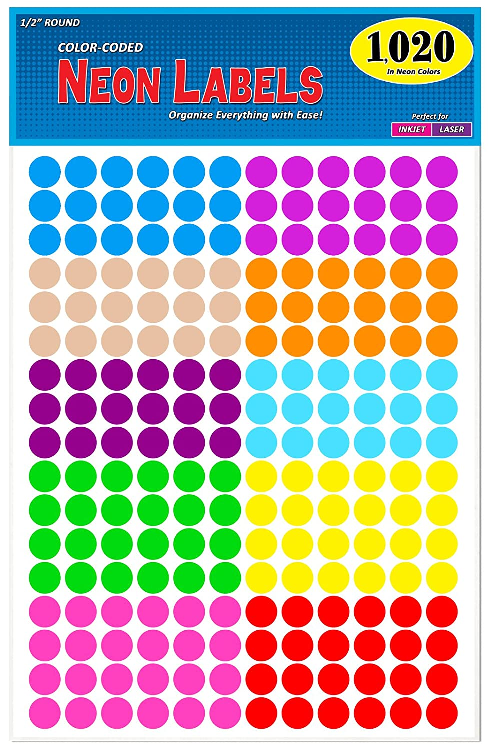 "Pack of 1020 1/2"" Round Color Coding Circle Dot Labels, 10 Bright Neon Colors, 8 1/2"" x 11"" Sheet, Fits Any Printer…"