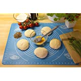 HOUSE OF QUIRK Reusable Non-Stick Extra Large Silicone Baking Mat for Pastry Rolling with Measurements (Blue)