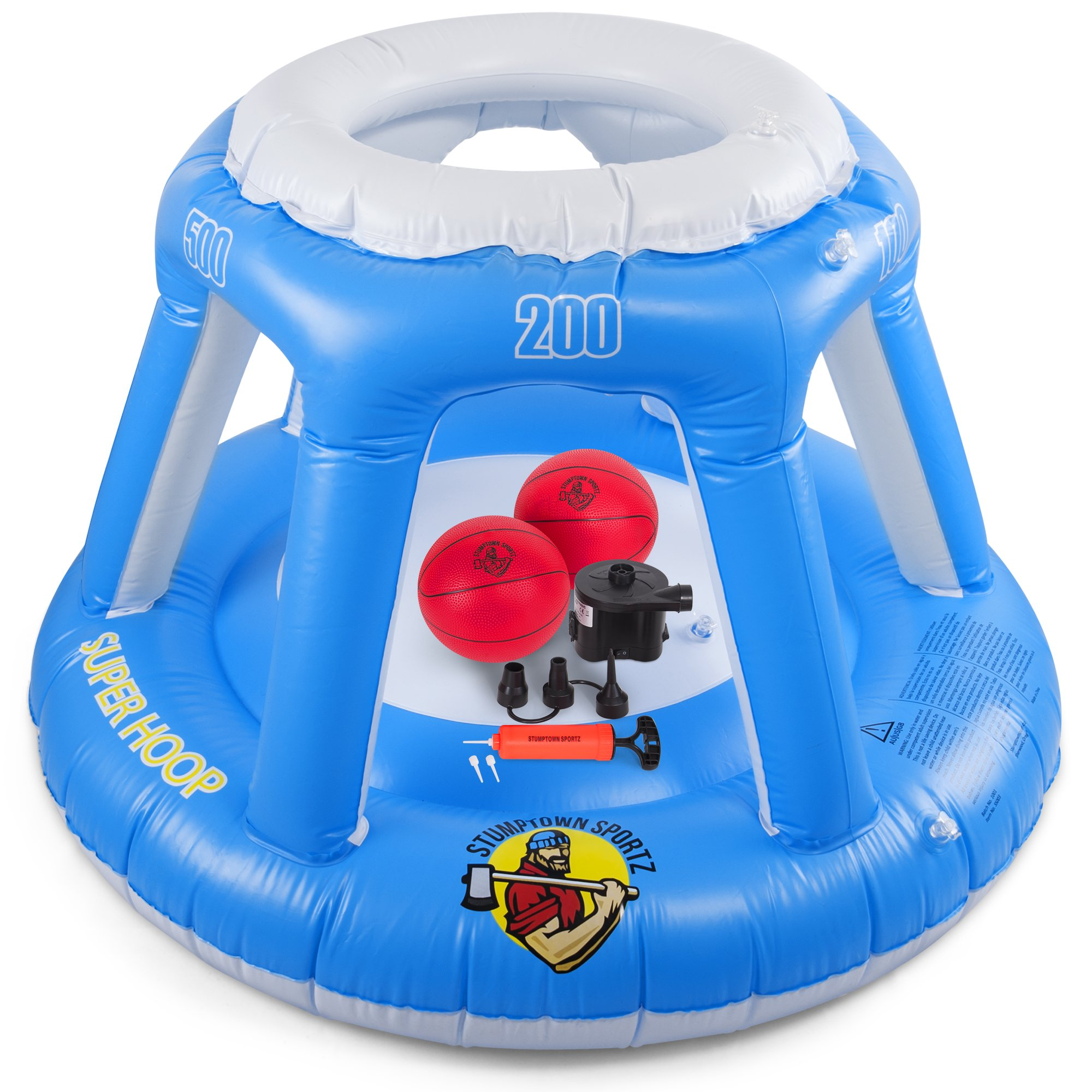 Inflatable Basketball Hoop for Water with 2 Basketballs & Battery Operated Pump | Also Includes Hand Pump with 3 Inflation Needles | Meant for Swimming Pools and Water Sports