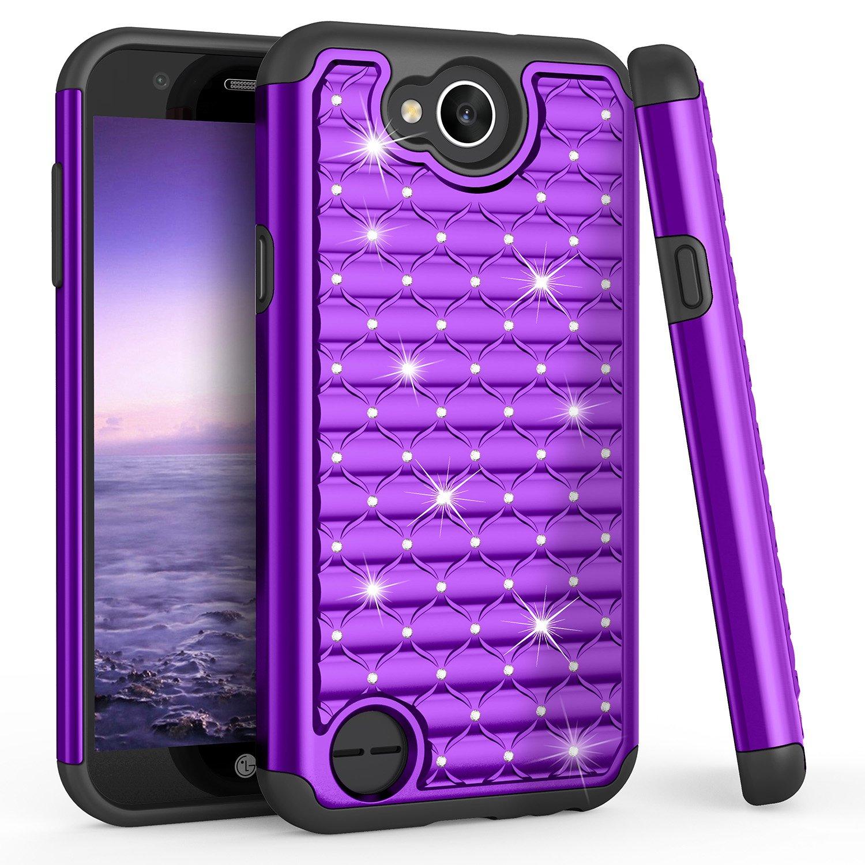 LG X Charge Case, LG Fiesta LTE/LG K10 Power Cute Case, TILL(TM) Studded Rhinestone Bling Diamond Sparkly Luxury Shock Absorbing Hybrid Defender Rugged Glitter Case Cover For LG X Power 2 [Purple]