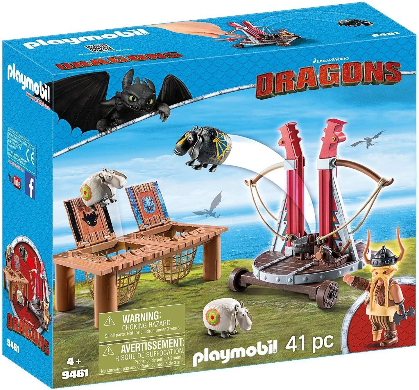 PLAYMOBIL DreamWorks Dragons Bocón con Lanzadera de Ovejas, A partir de 4 años (9461) , color/modelo surtido