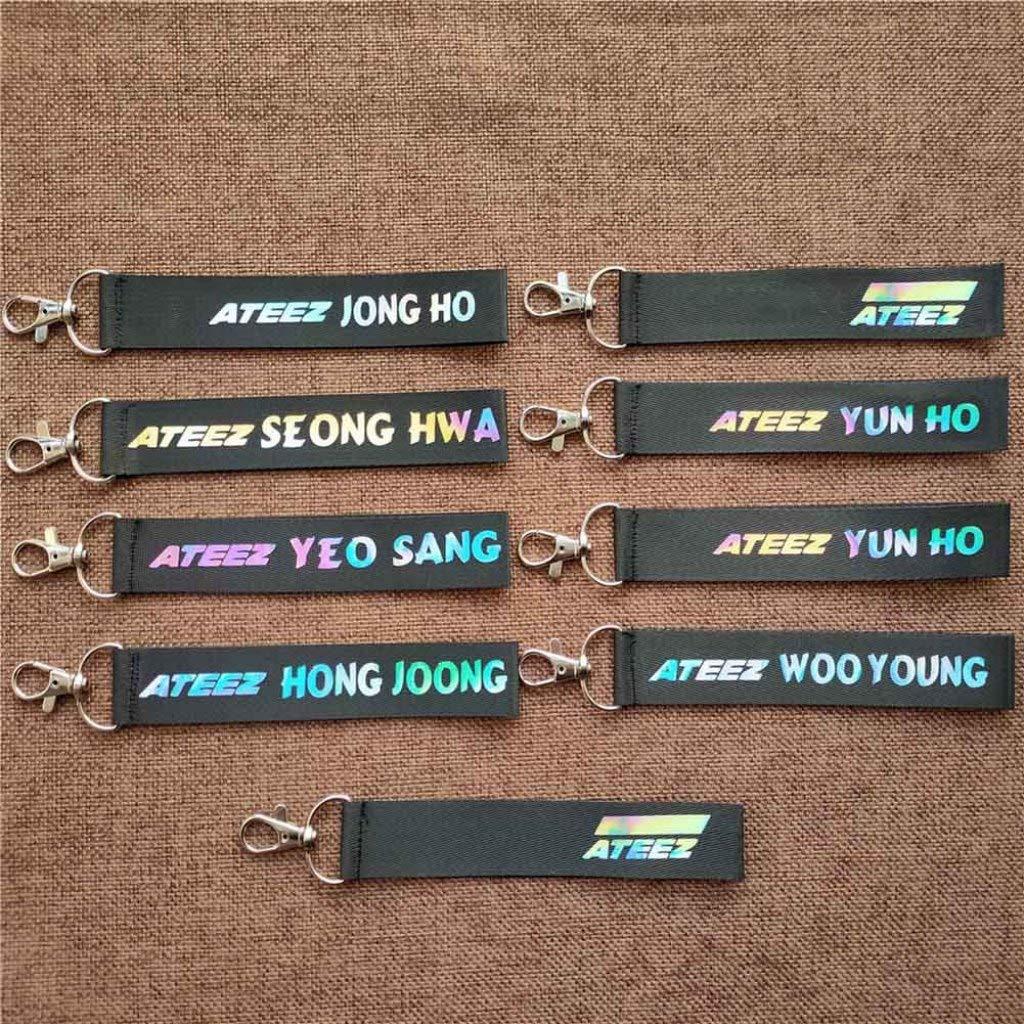 Angshi Elaborate Ateez Cord/ón l/áser Llavero llaveros tel/éfono Titular Correa Seong Hwa Hong Joong Yeo Sang Yun Ho Jong Ho Woo Young Signature Lanyard Nailon ATEEZ