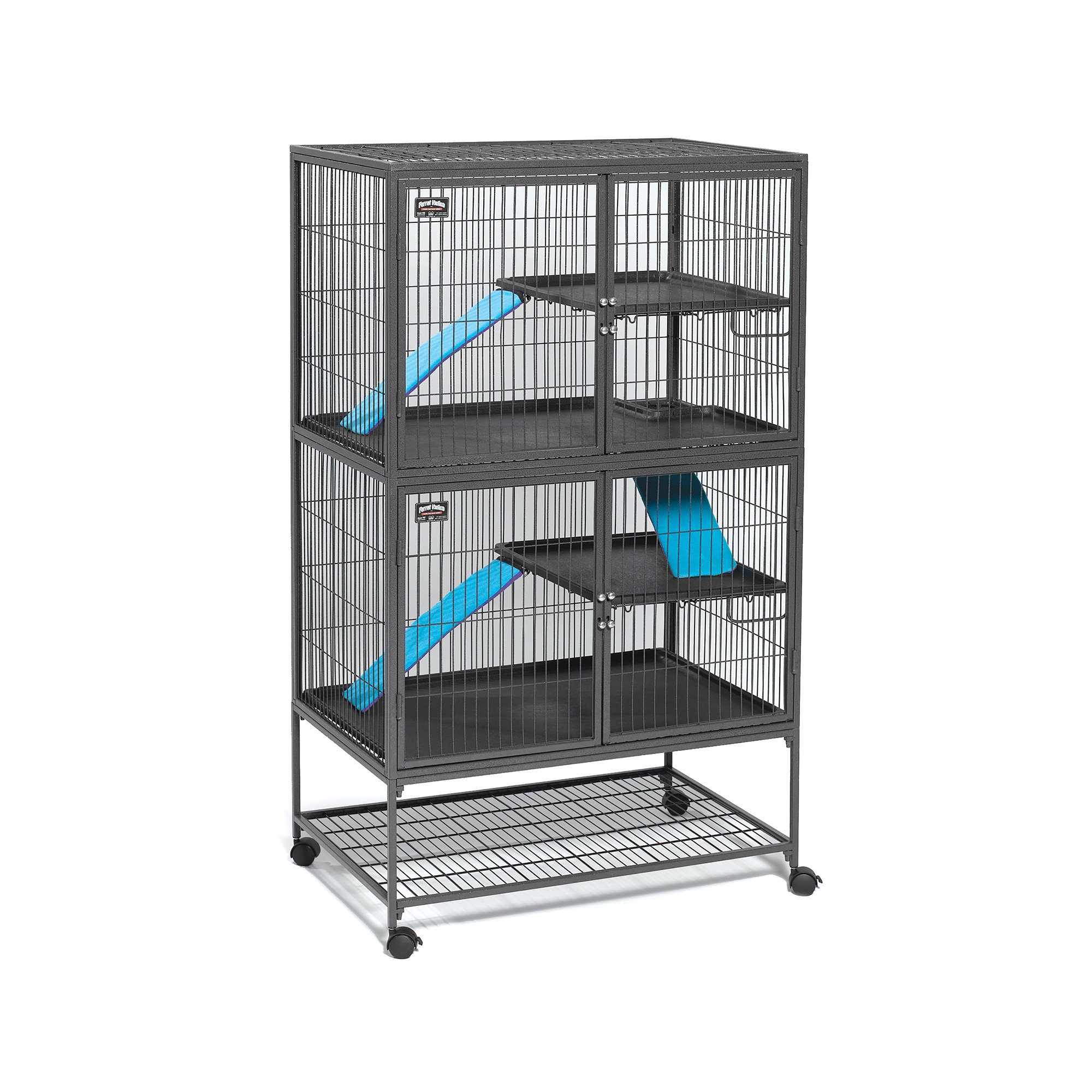 MidWest Deluxe Ferret Nation Double Unit Ferret Cage (Model 182) Includes 2 leak-Proof Pans, 2 Shelves, 3 Ramps w/ Ramp Covers & 4 locking Wheel Casters, Measures 36''L x 25''W x 62.5''H Inches