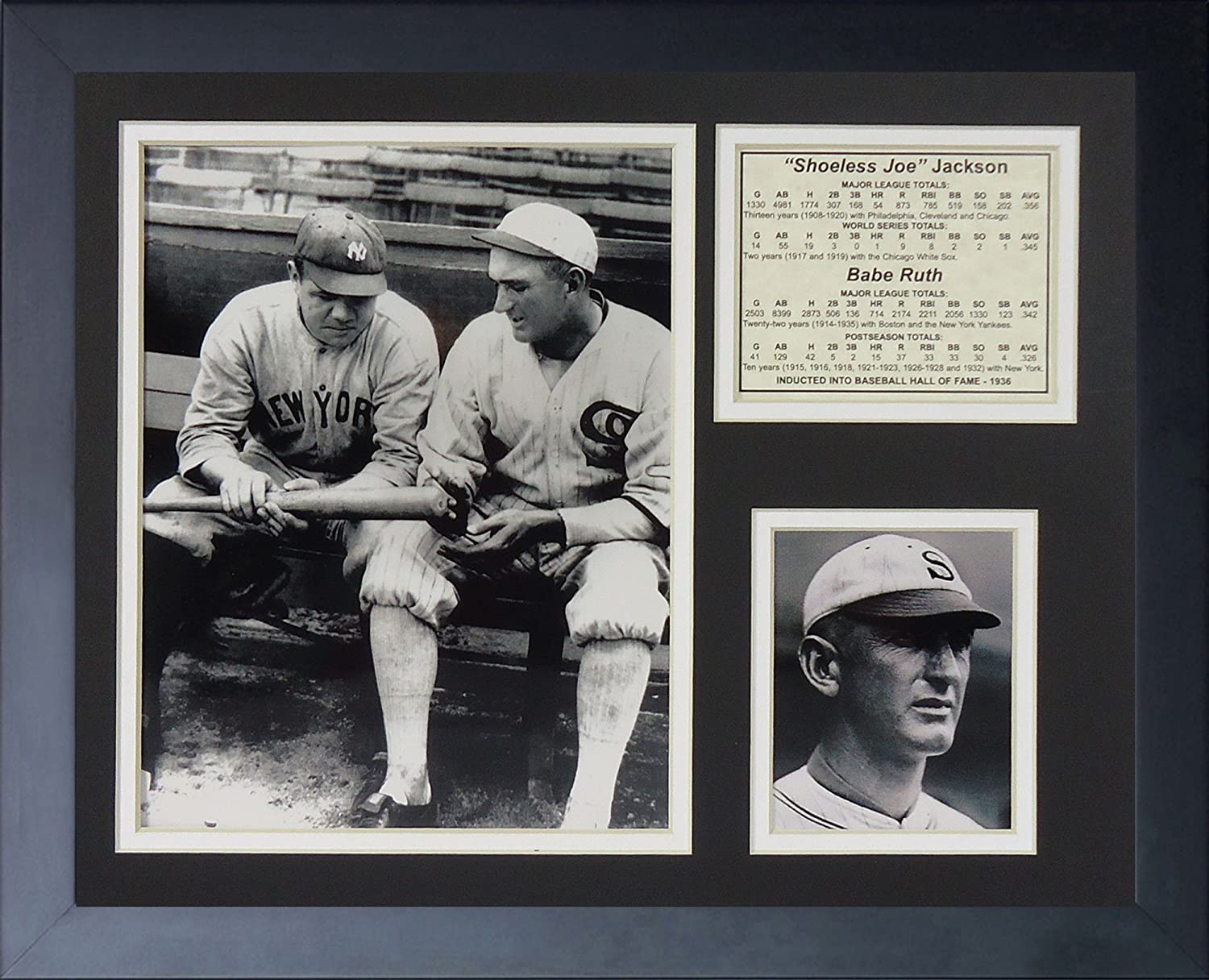 Legends Never Die Shoeless Joe Jackson and Babe Ruth Framed Photo Collage 11 by 14-Inch