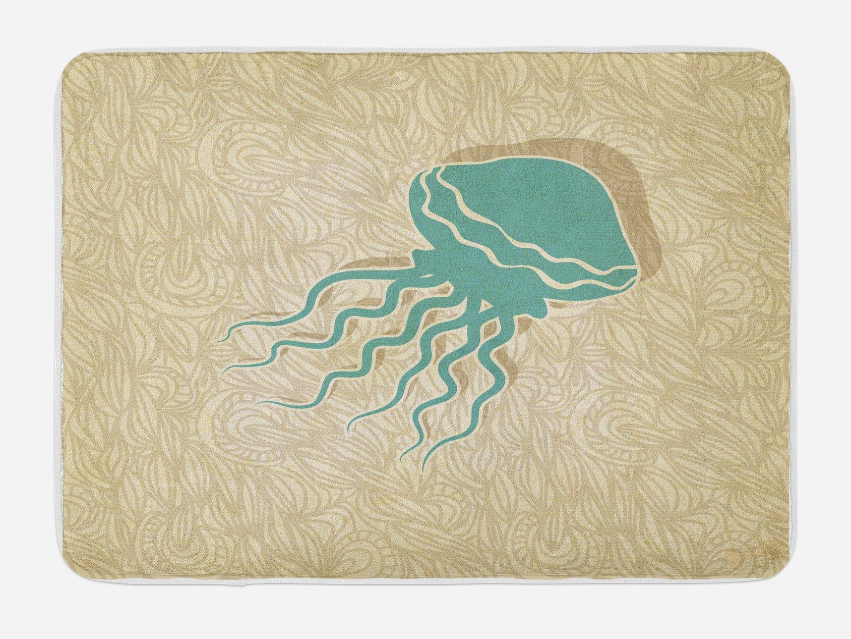 Ambesonne Jellyfish Bath Mat, Beach Summer Oceanic Life Tropicalea Animal Nautical Abstract Pattern, Plush Bathroom Decor Mat with Non Slip Backing, 29.5 W X 17.5 W Inches, Sand Brown Seafoam