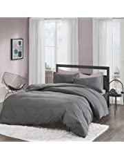 Non-Iron Plain Brushed Duvet Cover Set King Size - 3 Pcs Ultra Soft Hypoallergenic Microfiber Quilt Cover Sets - Grey