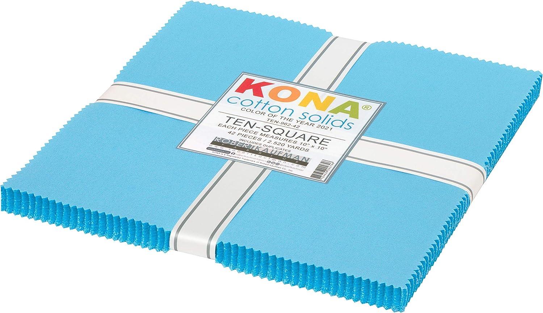 Robert Kaufman Kona Cotton 2021 Color of The Year Ten Squares 42pcs, Horizon
