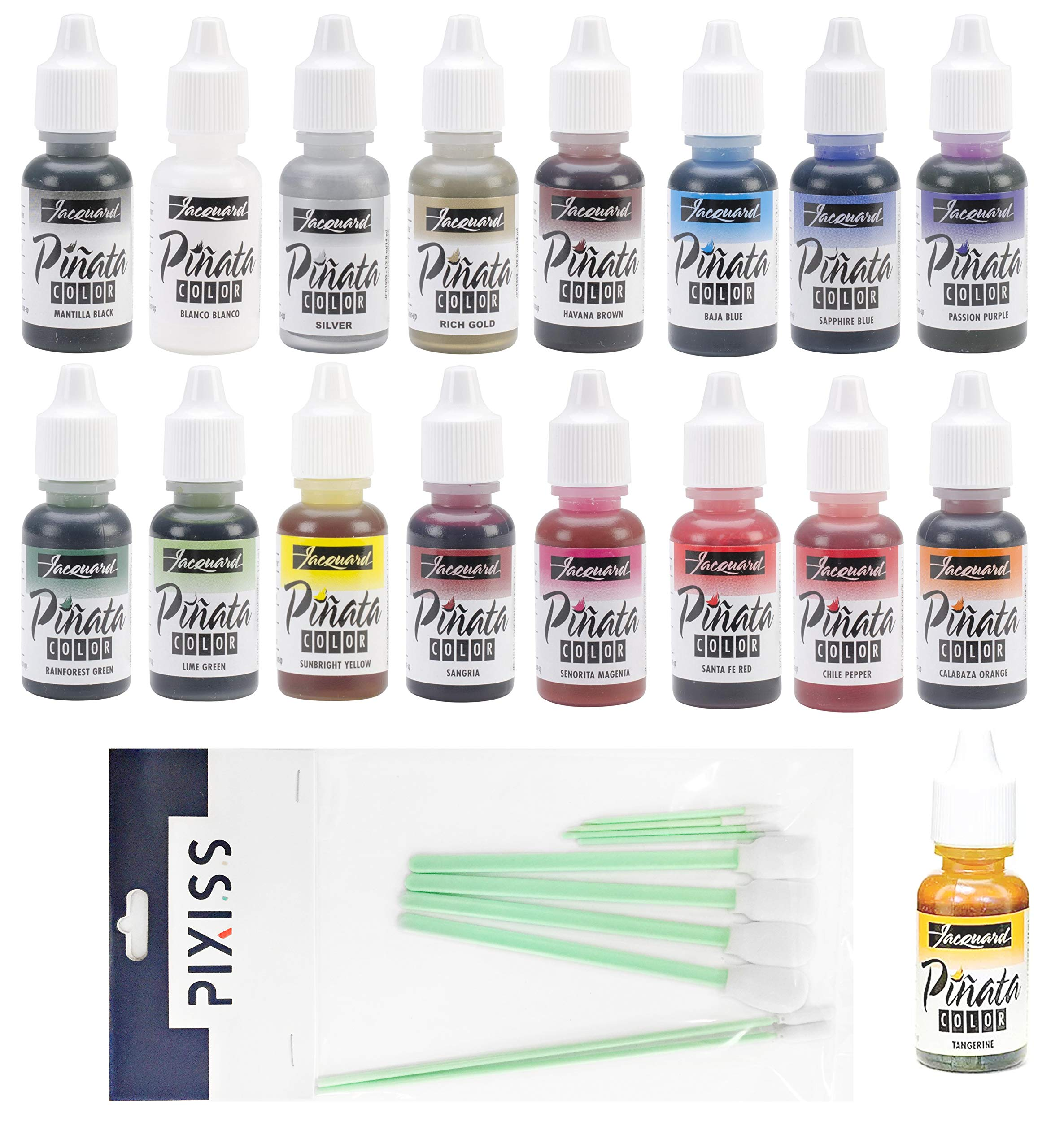 All 17 Colors Jacquard Pinata Alcohol Inks Bundle and 10x Pixiss Ink Blending Tools by GrandProducts