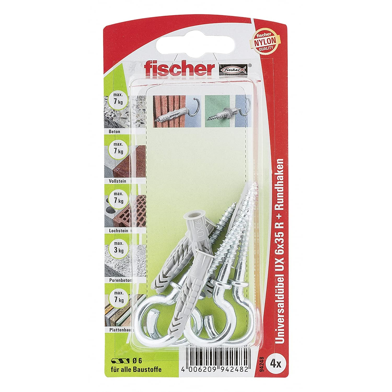 Fischer 94248 Lot de 4 Chevilles universelle UX 6 x 35 mm RH K