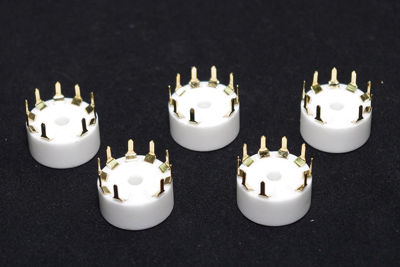 SMAKN 5 PCS Ceramic Gold Plated 9pin B9A PCB Mount Tube Socket for 12AX7//ECC83//12AT7//6DJ8