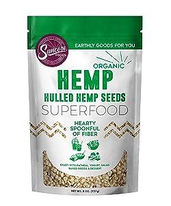 Suncore Foods - Organic Hemp Seeds, 8oz bag, Gluten Free and Non-GMO, Vegan, Superfood
