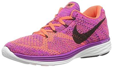 wholesale dealer af566 8fc78 Image Unavailable. Image not available for. Color  Nike Womens Flyknit  Lunar3 Running Shoes - Purple Orange ...