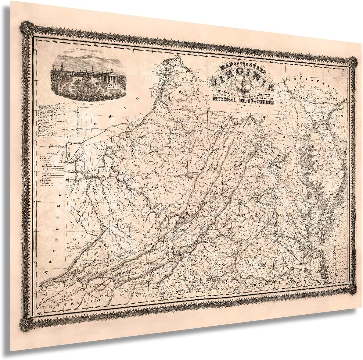 Historix Vintage 1862 Map of Virginia - 18x24 Inch Vintage Wall Art - Map of State of Virginia During the Civil War - State Map of Virginia - Virginia Wall Map - Virginia Decor (2 sizes)