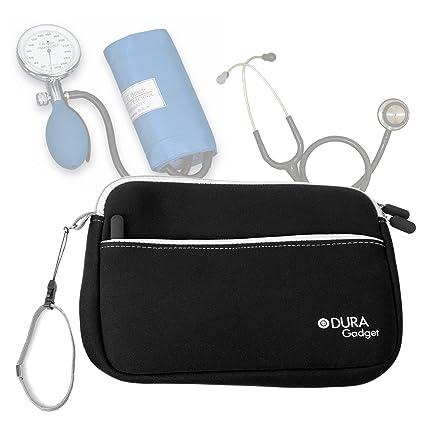 DURAGADGET Estuche De Neopreno Negro para Guardar Sus Accesorios Médicos (Estetoscopio/Tensiómetro) + Correa De Mano: Amazon.es: Electrónica