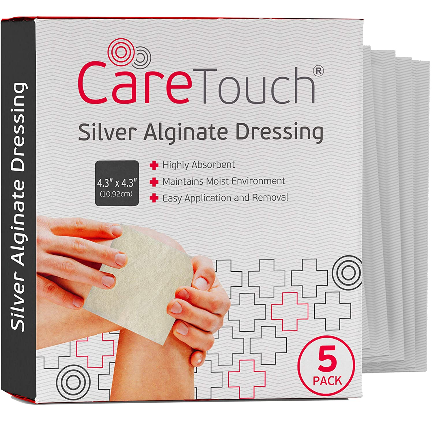 """Care Touch Silver Alginate Wound Dressing - Antibacterial Alginate with Silver - 5 Individually Wrapped Sterile Dressings, 4.3""""x4.3"""""""