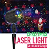 Christmas Light Projector Laser Lights Motion Outdoor Projector Star Light Shower Red & Green 8 Patterns Blue LED RF Remote Control Timer Setting Waterproof for Xmas/Parties/Holiday Decoration