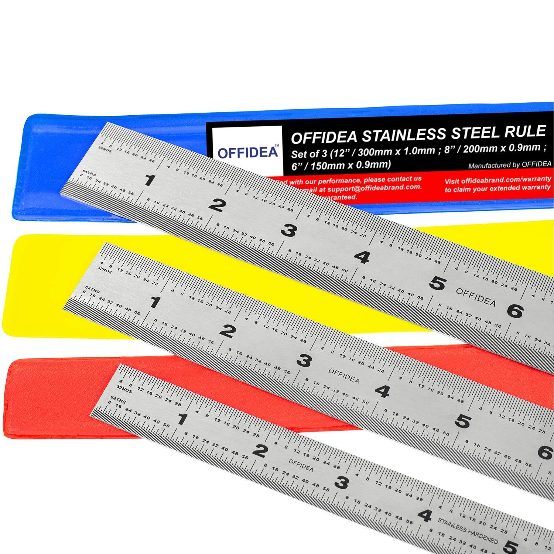 Offidea Regla Metalica mm - Regla de Acero Inoxidable R/ígido con Cent/ímetros y Pulgadas 1//64 y 1//32 0.5 mm Regla Carpintero 15, 20, 30 cm Reglas Reglas Metalicas