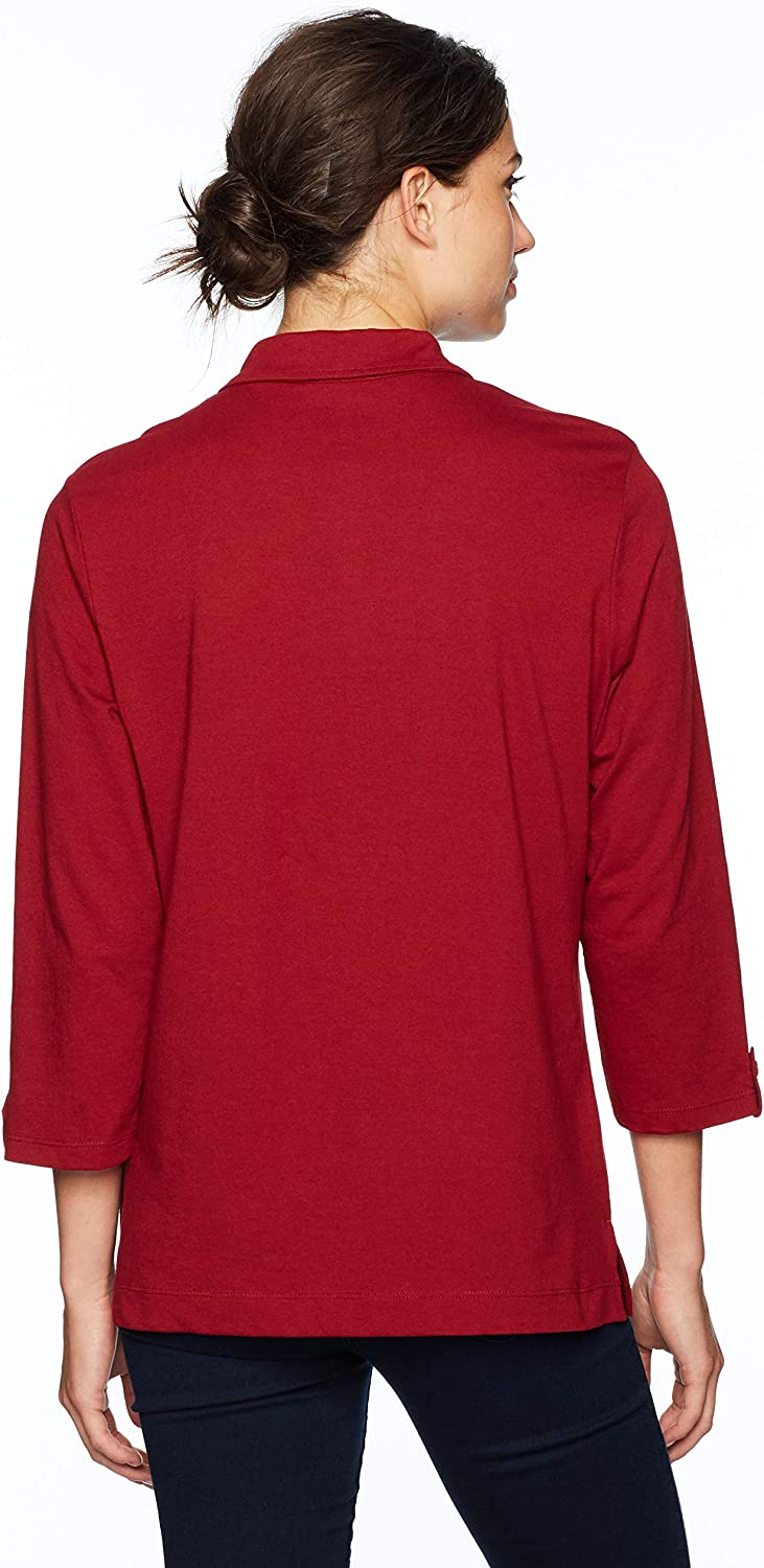 Chic Classic Collection Womens 3//4 Sleeve Collared Knit Shirt