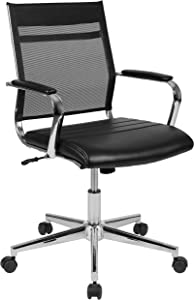Flash Furniture Mid-Back Black Mesh Contemporary Executive Swivel Office Chair with LeatherSoft Seat