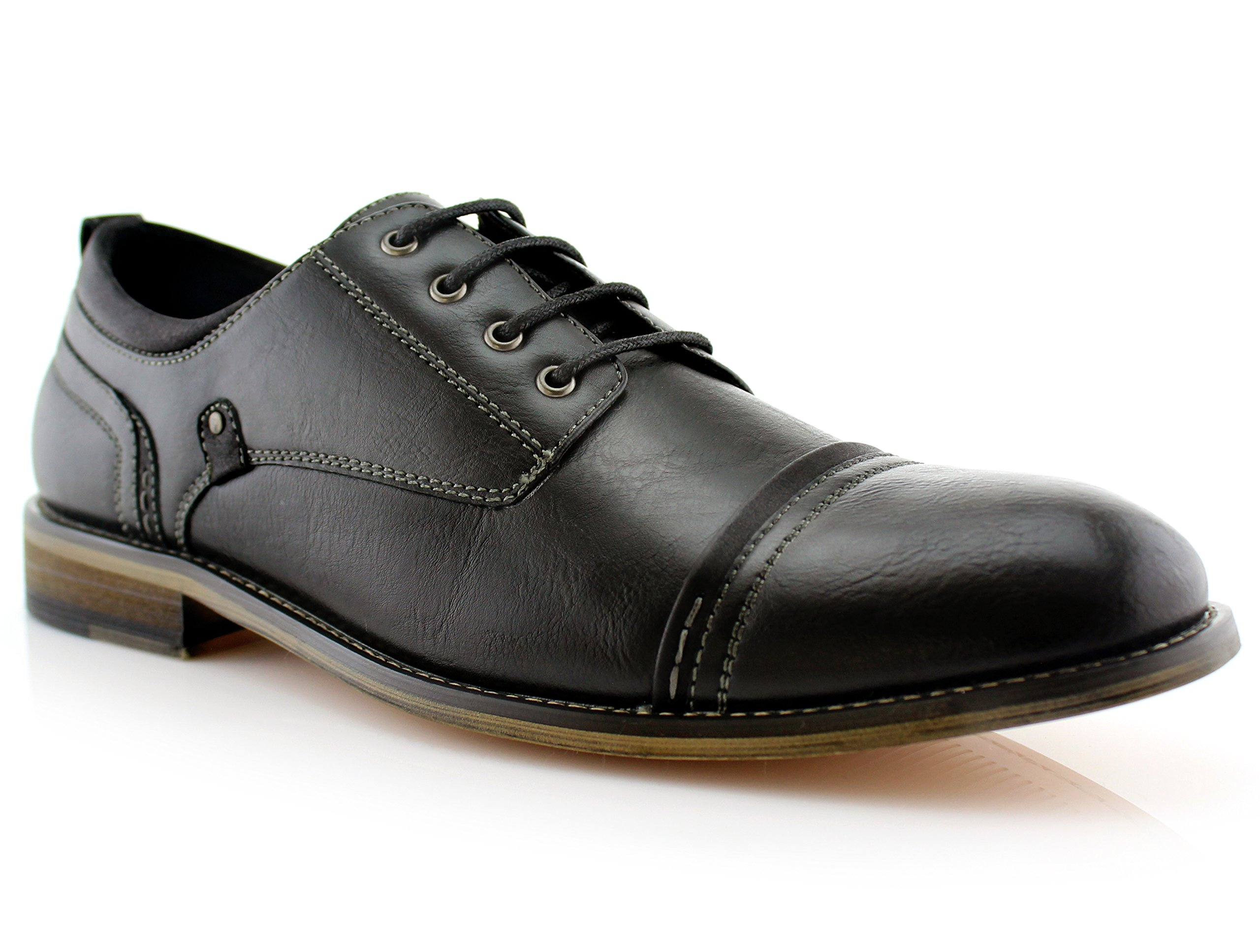 Ferro Aldo Shane MFA19606L Mens Casual Cap Toe Oxford Dressing Shoes – Black, Size 7