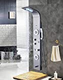 ELLO&ALLO Stainless Steel Shower Panel Tower System,LED Rainfall Waterfall Shower Head 6-Function Faucet Rain Massage System with Body Jets Fingerprint-free, Brushed Nickel