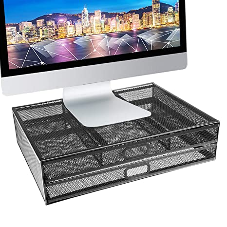 Amazon Com Monitor Stand Riser Dual Stack Pull Out Storage
