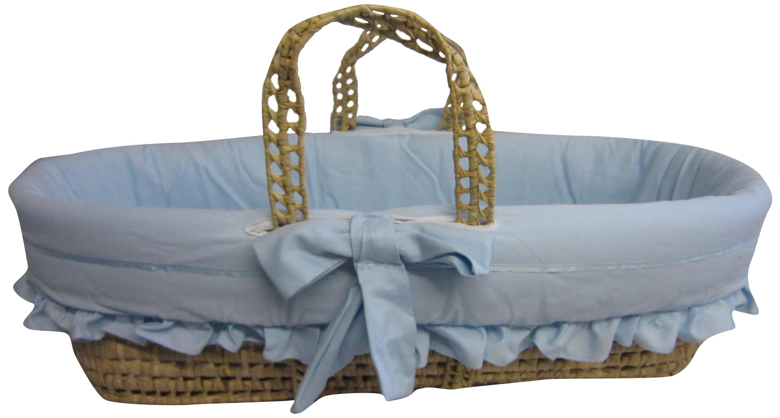 Baby Doll Bedding Satin Trim Moses Basket, Blue