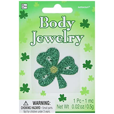 St. Patrick's Day Assorted Glitter Body Jewelry, 6 Ct. | Party Accessory: Toys & Games