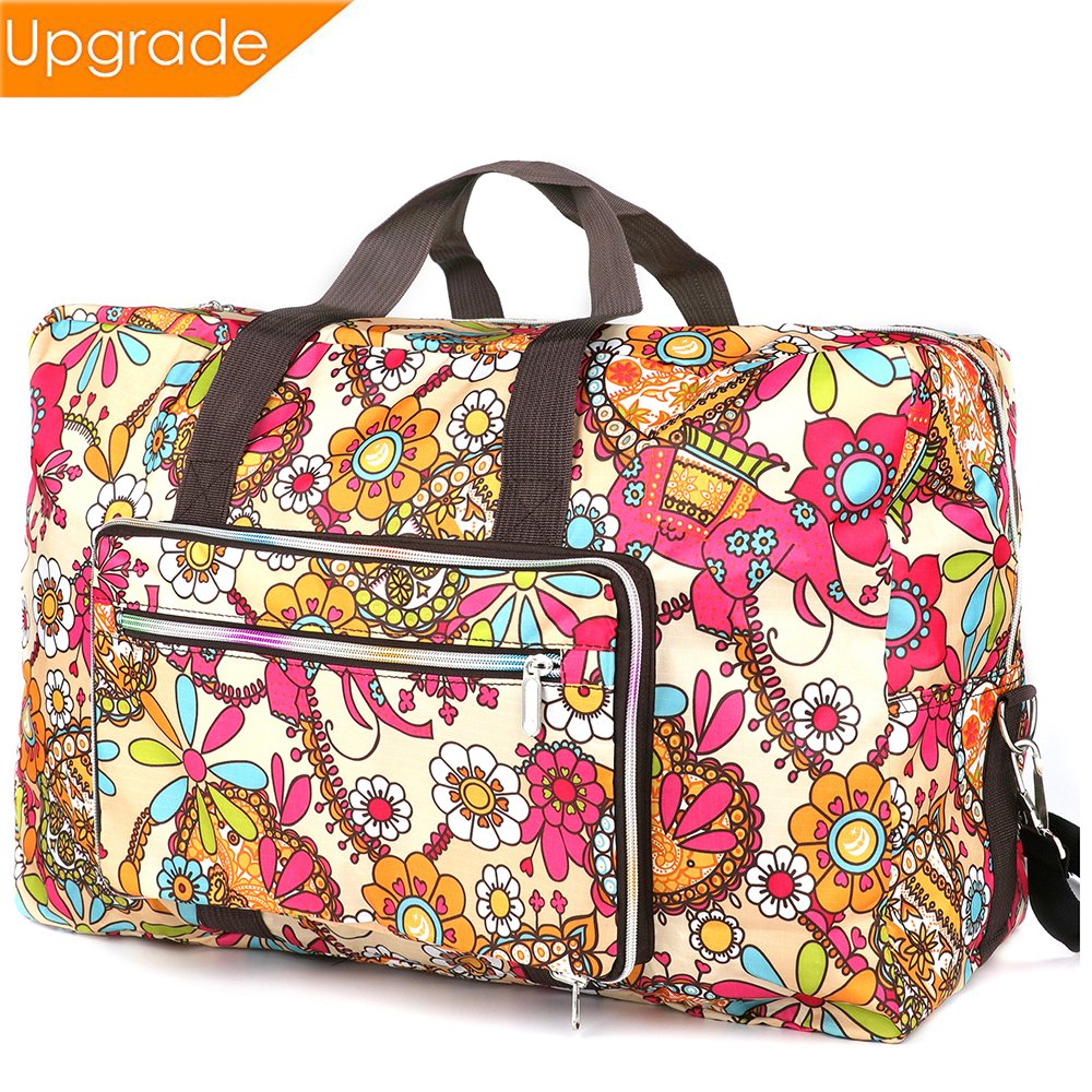 Fordicher Women Nylon Foldable Large Travel Duffel Bag Travel Tote Luggage Bag for Vacation (Sun Flower)