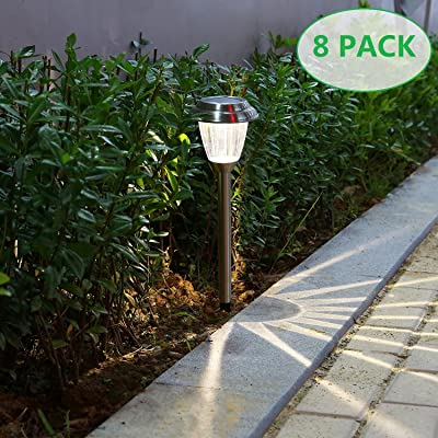 Voona Solar LED Outdoor Lights 8-Pack Stainless Steel Pathway Landscape Lights