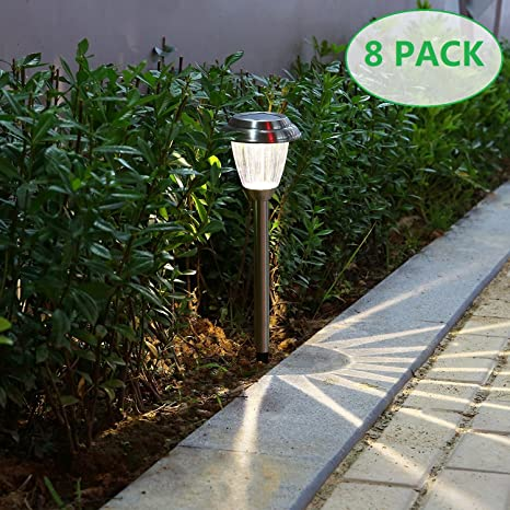 Voona Solar LED Outdoor Lights 8 Pack Stainless Steel Pathway Landscape  Lights For Outdoor Path