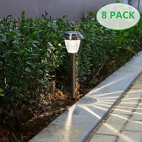Amazon voona solar led outdoor lights 8 pack stainless steel voona solar led outdoor lights 8 pack stainless steel pathway landscape lights for outdoor path aloadofball Choice Image