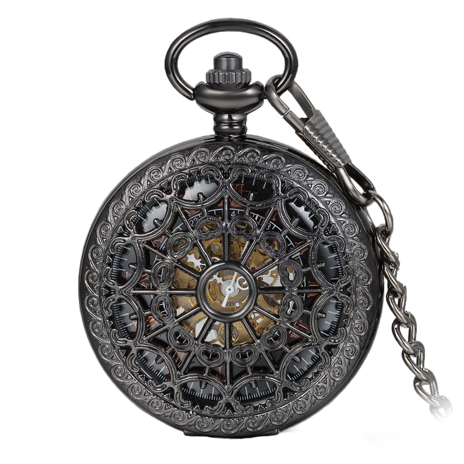 Avaner Unisex Antique Steampunk Black Skeleton Spider Web Pattern Hand Wind Mechanical Movement Roman Numeral Pocket Watch Gift with 14 inches Chain