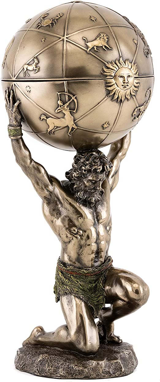Top Collection Greek God Atlas Statue With Globe Container Roman God Of Heaven And Astronomy Sculpture In Premium Cold Cast Bronze 12 25 Inch Office