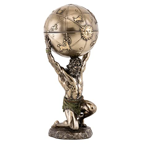 Top Collection Greek God Atlas Statue With Glob Container Roman God Of Heaven And Astronomy Sculpture In Premium Cold Cast Bronze 1225 Inch Office