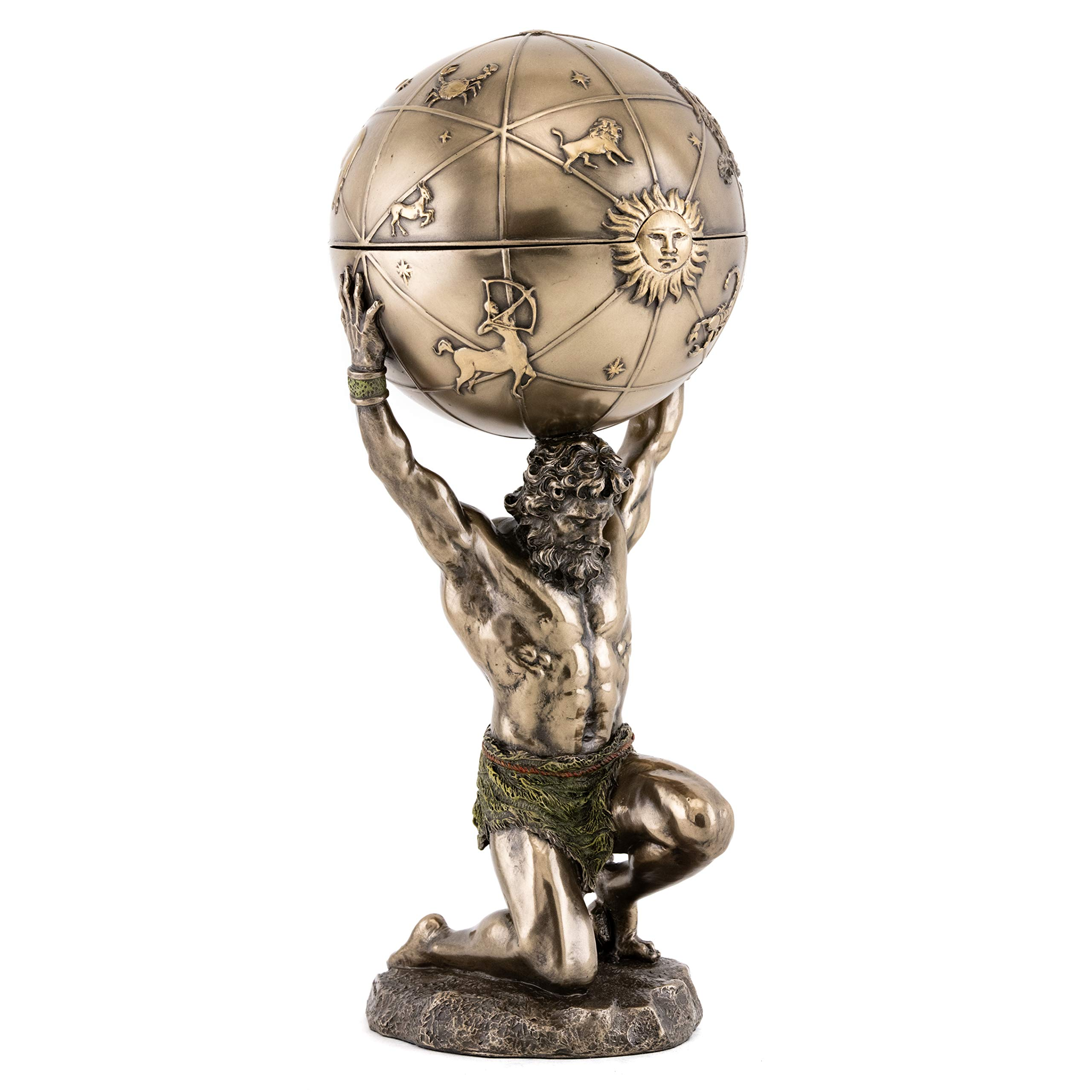 Top Collection Greek God Atlas Statue with Globe Container- Roman God of Heaven and Astronomy Sculpture in Premium Cold Cast Bronze- 12.25-Inch Office Desktop Figurine with Hidden Compartment