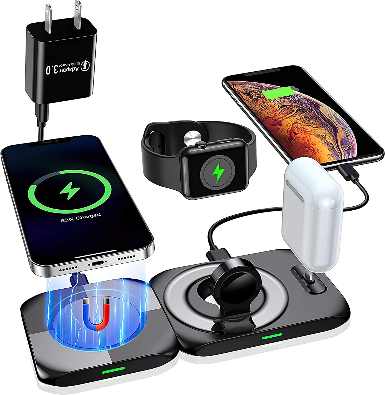 Five Frest 4-in-1 Wireless Charging Station for Apple Products - Wireless Charger Station for Apple Devices - Charging Dock for iPhone 12/ Pro/Pro Max/Mini 11 X/Xs/Xr Apple Watch Airpods Pro/Airpod