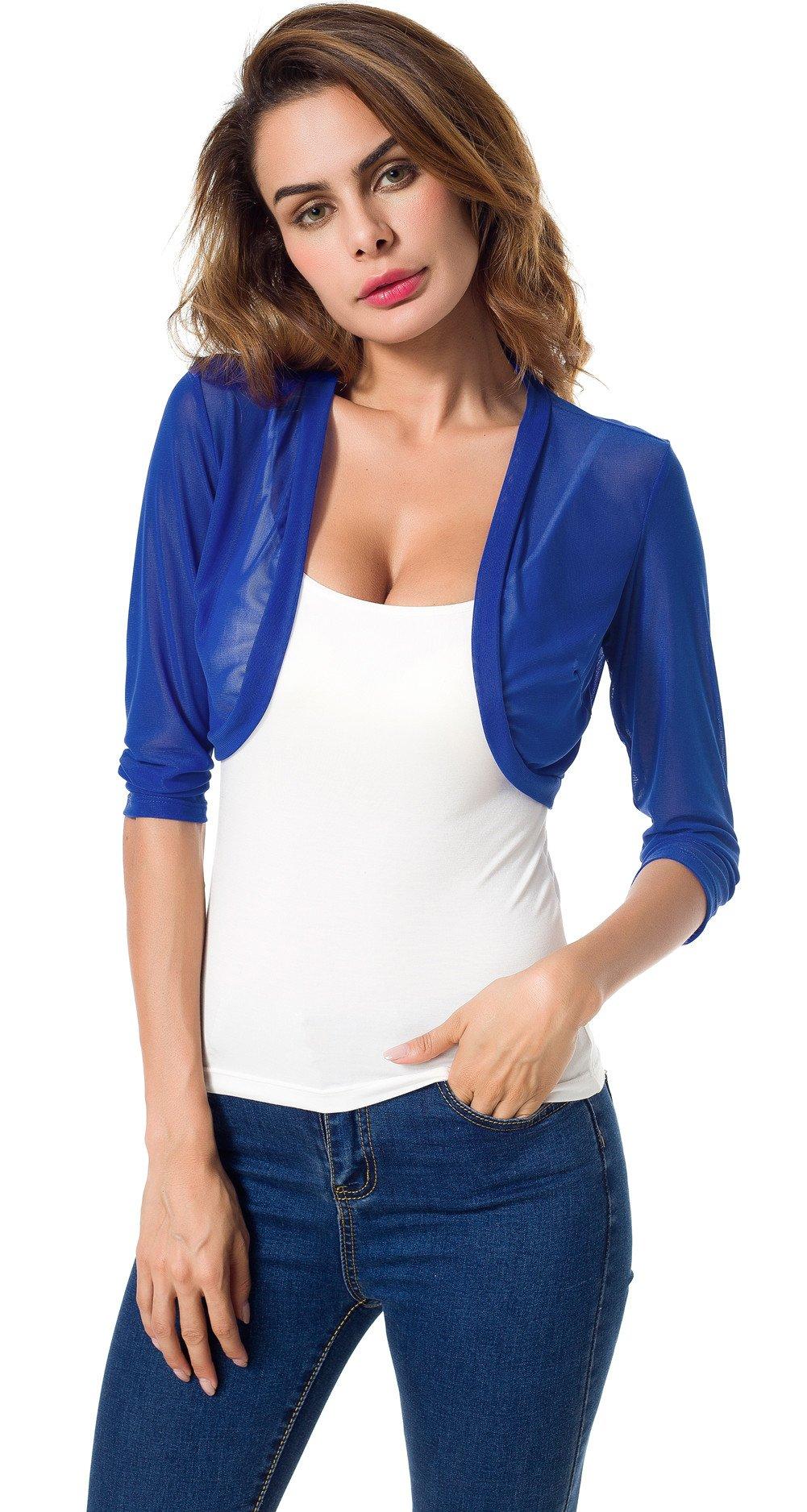 Tandisk Women's 3/4 Sleeve Bolero Sheer Chiffon Shrug Cardigan Blue L