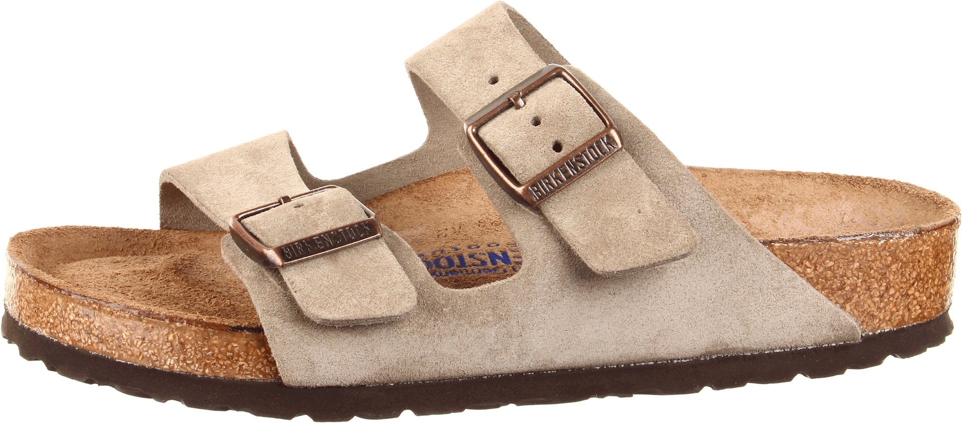 Birkenstock Unisex Arizona Taupe Suede Soft Foot Bed Sandals - 38 M EU / 7-7.5 B(M) US by Birkenstock (Image #5)