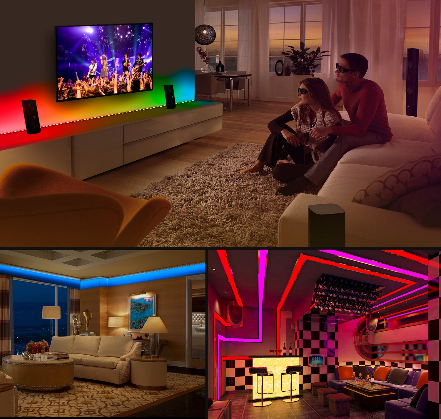 MINGER DreamColor LED Strip Lights, Smart Music Sync Light Strip Phone App Controlled Waterproof for Room, Bedroom, TV, Gaming, Party with Brighter 5050 LEDs and Strong Adhesive Tape (16.4Ft) by MINGER (Image #7)