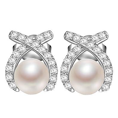 246fa736c536 MARENJA-Pendientes Plata de Ley 925-Perla Blanca con 3A Circonita Pavé-Alta  Joyería de Mujer  Amazon.es  Joyería