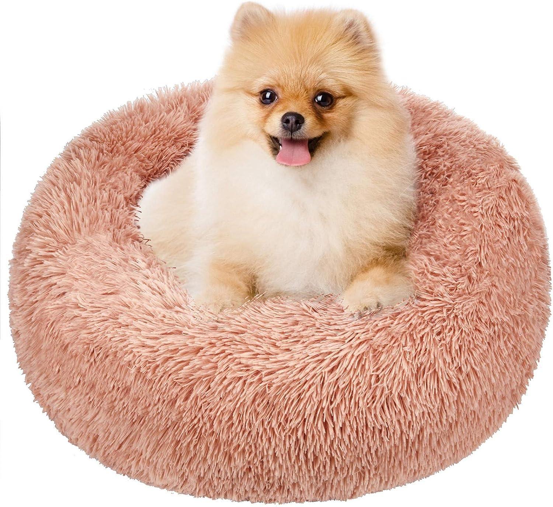 TAMOWA Cama Perro Suave Cama Gato Redonda, Camas de Gatos Perros de Donut con Parte Inferior Antideslizante, Cómodo Suave y Cálida Cama para Mascotas Gatos y Perros Pequeños, 60cm, Rosado