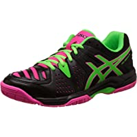 ASICS Women's Gel-Dedicate 4 Black, Green Gecko and Hot Pink Tennis Shoes
