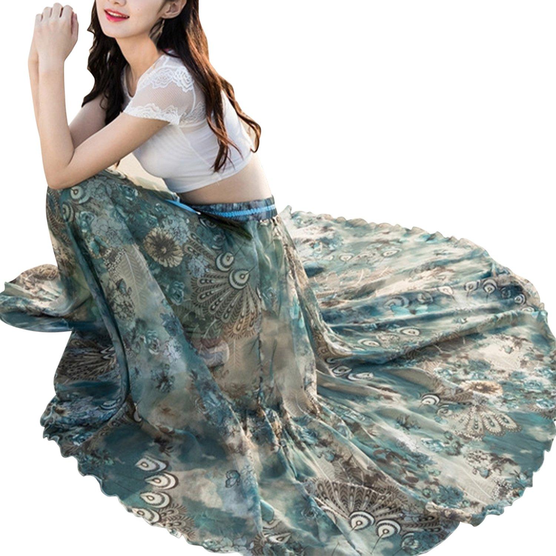 Misscat Women Flowy Beach Dress Flower Print High Waist Chiffon Maxi Skirt